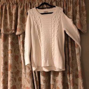 Cool and comfy cold shoulder sweater